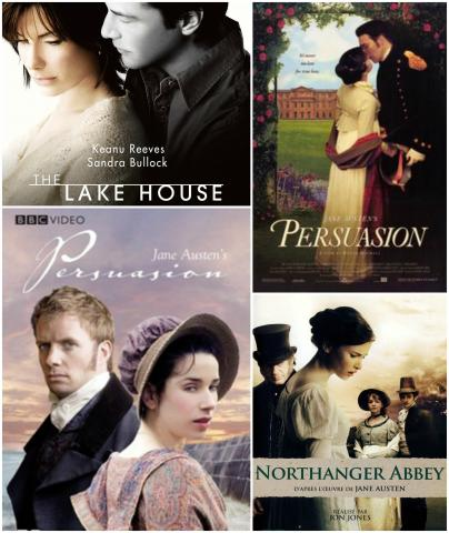 "In the top left, the cover of the 2006 film adaptation of ""Persuasion"", titled ""The Lake House."" In the top right corner, another film adaptation of ""Persuasion"", in the year 1995, titled ""Persuasion."" Bottom left is a 2007 film adaptation of ""Peruasion"", by the same title. In the bottom right, the cover of the 2007 film adaptation of ""Northanger Abbey,"" with the same title."