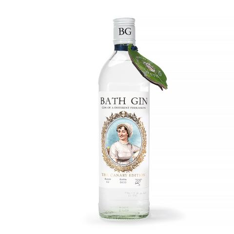 Bottle of Bath Gin featuring a winking Jane Austen.