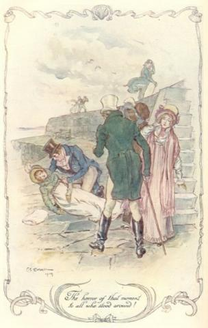 An illustration of Louisa's fall at the Cobb.