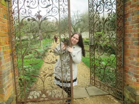 Entering the garden at Chawton House through the iron gate