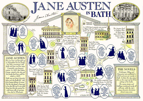 Postcard highlighting sights of significance to Austen in Bath.