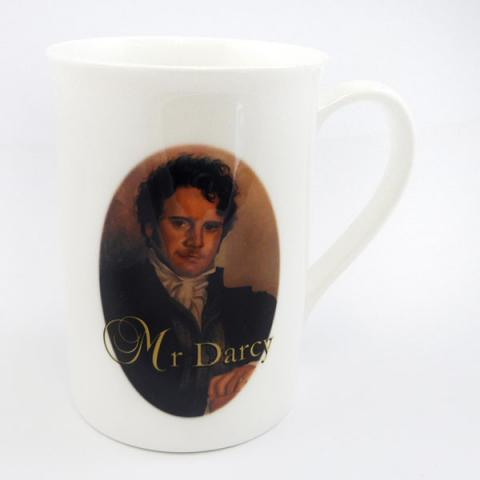 A mug featuring a painting of Colin Firth as Mr. Darcy.