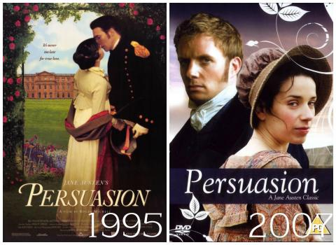 The covers of the 1995 and 2007 adaptations of Persuasion that feature the romance between Anne and Wentworth.