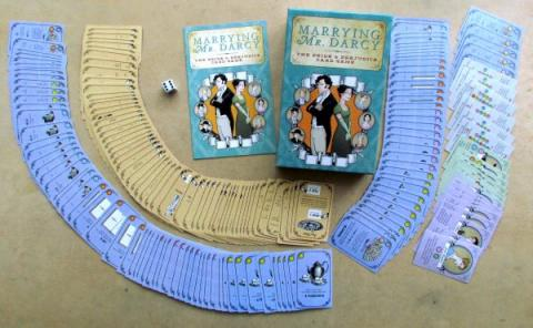 A spread of all of the cards in the game Marrying Mr. Darcy.
